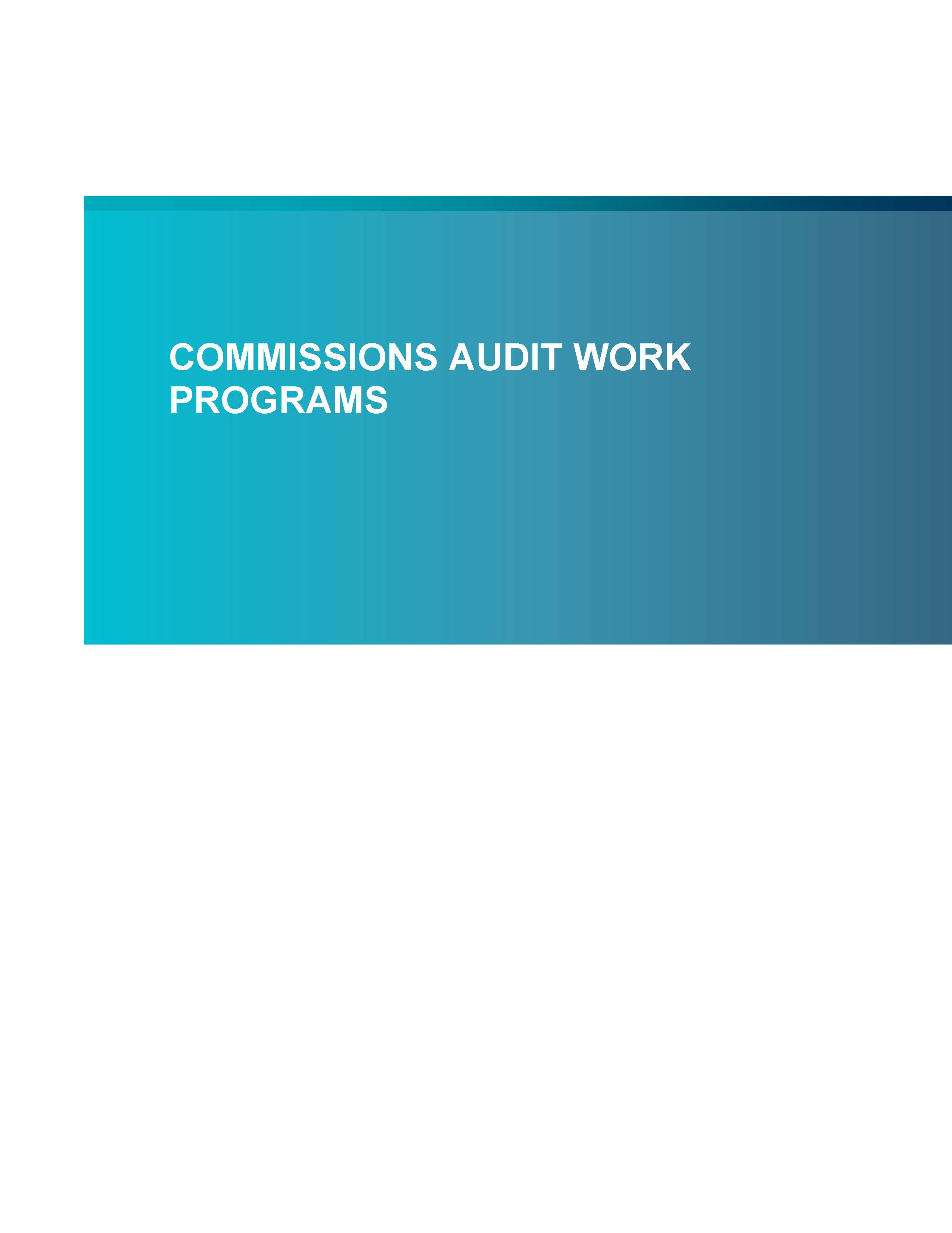 Screenshot of first page of Commissions Audit Work Program